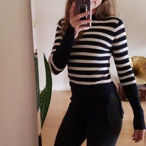 Everlane striped side slit crew neck sweater